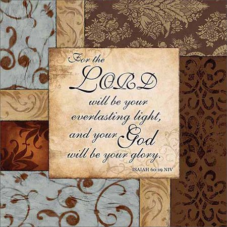 Religious Canvas - Everlasting Light Isaiah Traditional Abstract Floral Pattern Panel Religious Painting Blue & Brown Canvas Art by Pied Piper Creative