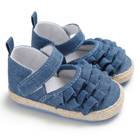 - Baby Toddler Girls Cute Ruffled Prewalker Flat Shoes Color:Blue Inner Length:11cm