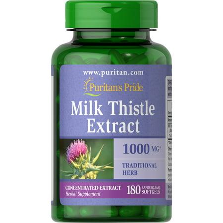 Puritan's Pride of Milk Thistle 4:1 Extract 1000 Mg (Silymarin)-180 Softgels (360 (Best Quality Milk Thistle)