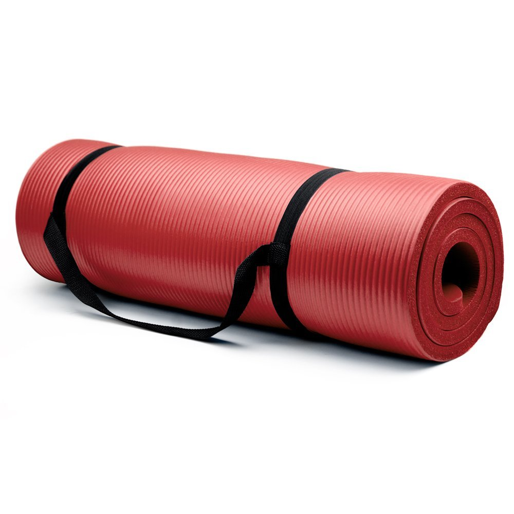 "Crown Sporting Goods 3/4"" Extra Thick Yoga Mat, Red"