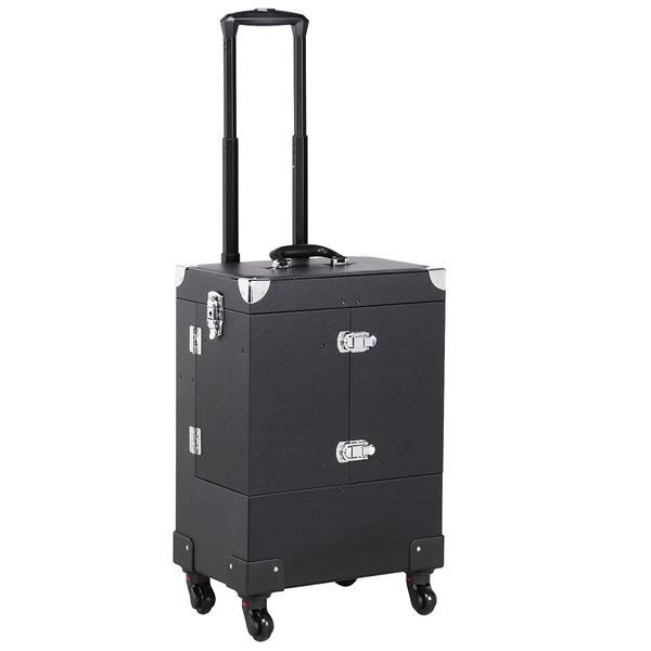 Professional Trolley Makeup Train Case with Lock & Mirror & Detachable Wheels, Black