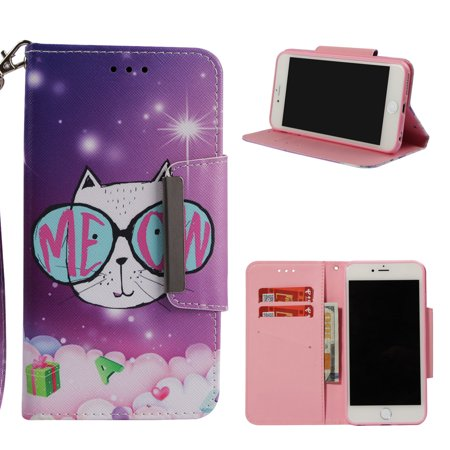 iPhone 6 Plus Wallet Case, iPhone 6S Plus Case, Allytech Glitter Diamond Printed Pattern Slim PU Leather Flip Cover with Card Holder Hand Strap Stand Magnetic Protective Shockproof Shell, Cute Cat