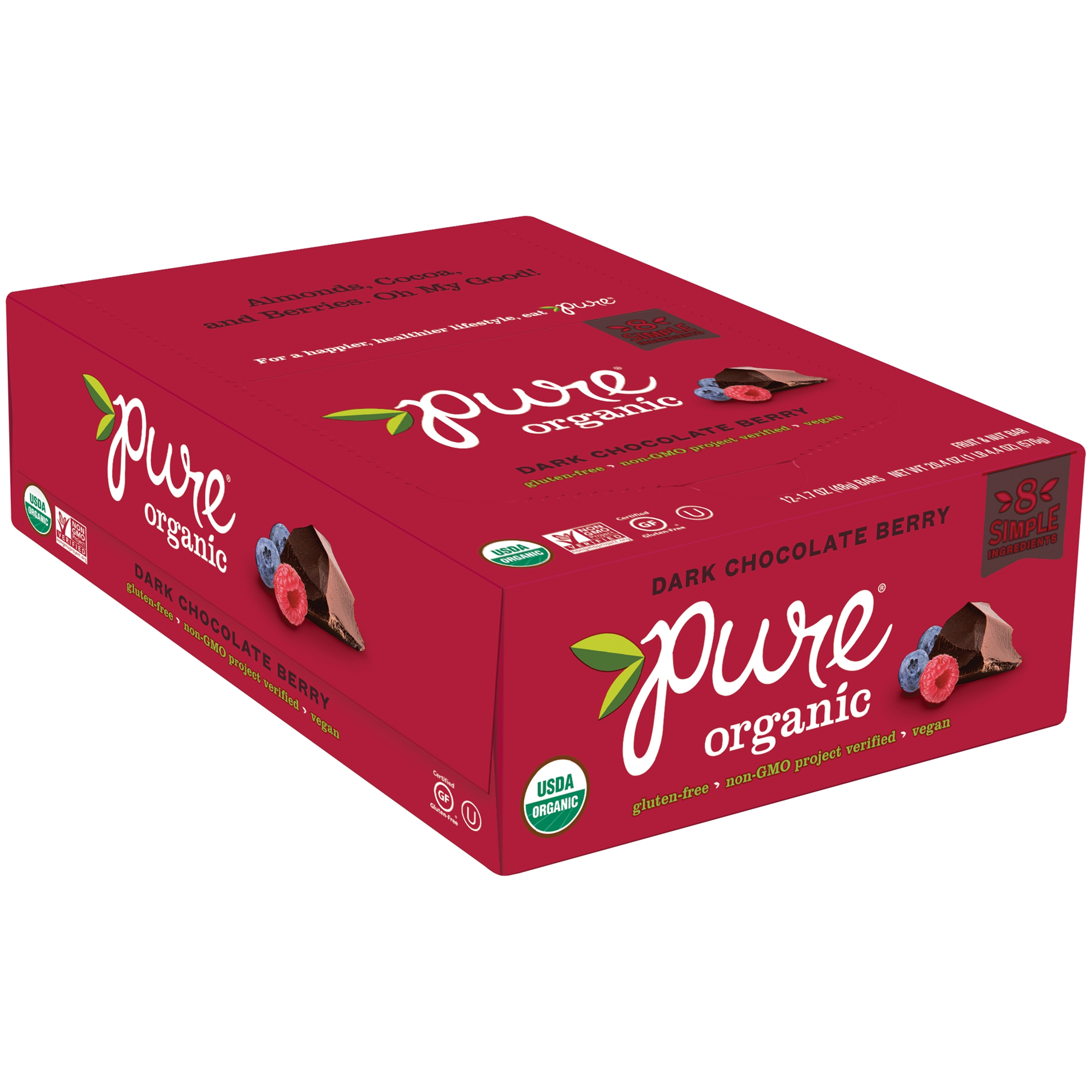 Pure® Organic Dark Chocolate Berry Fruit & Nut Bars 12 ct Box