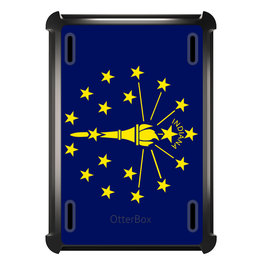 CUSTOM Black OtterBox Defender Series Case for Apple iPad Air 2 (2014 Model) - Indiana State Flag