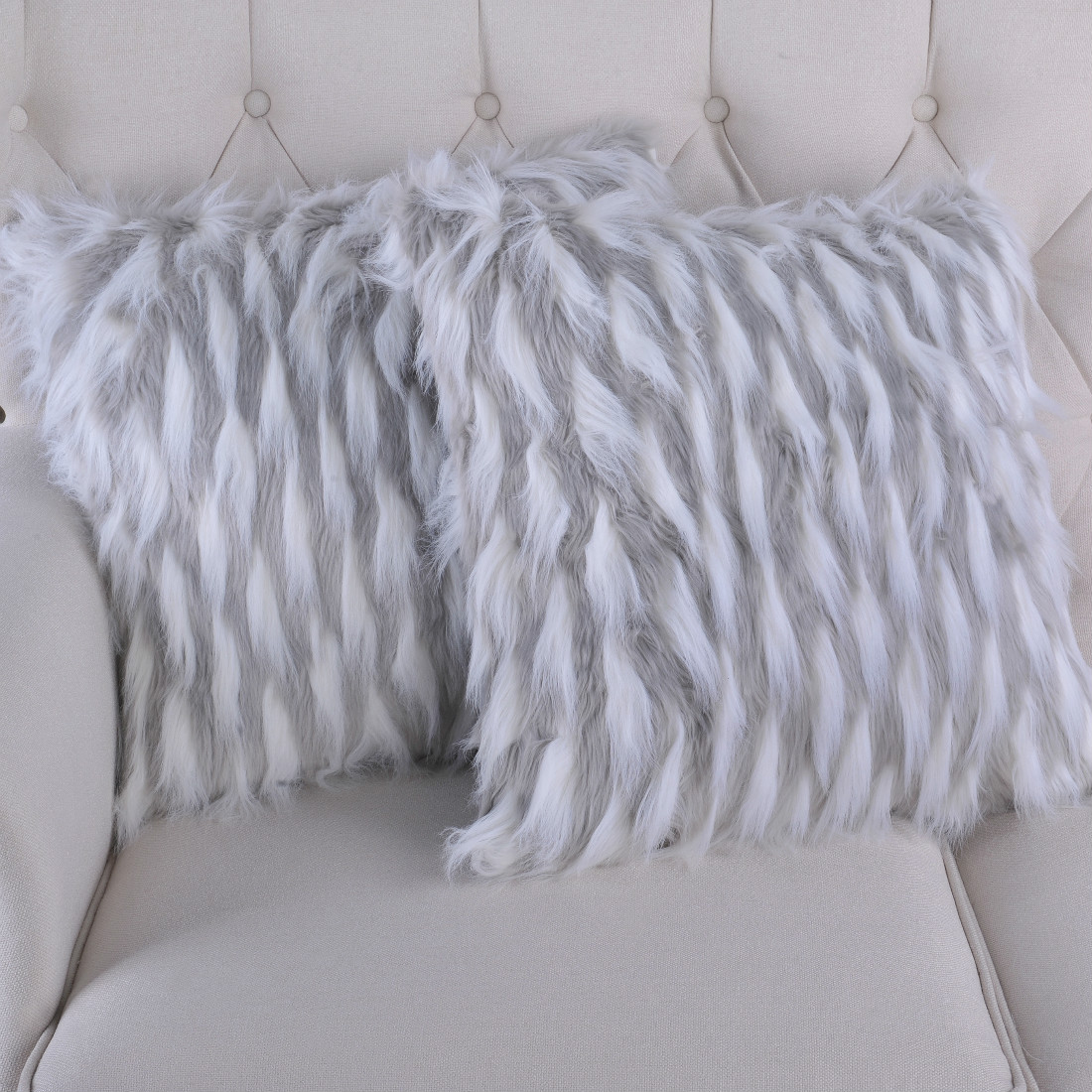 Serenta Feathery Faux Fur 2 Piece Pillow Shell Set