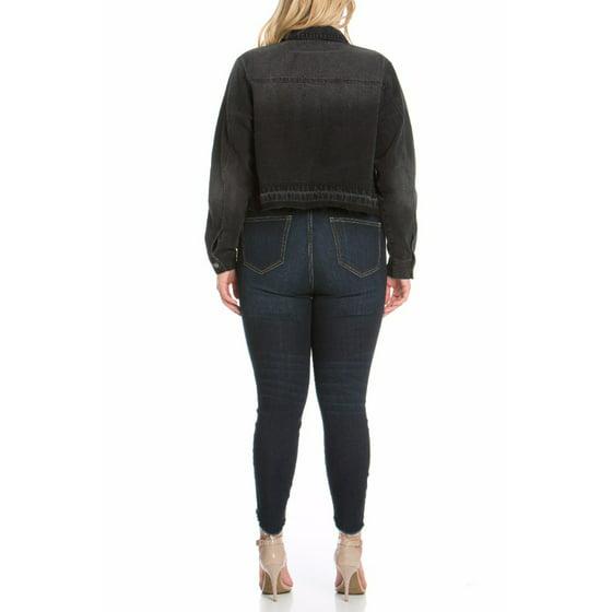 d7437325797 Cello - Women s Plus Black Wash Denim Jacket with Released Hem ...
