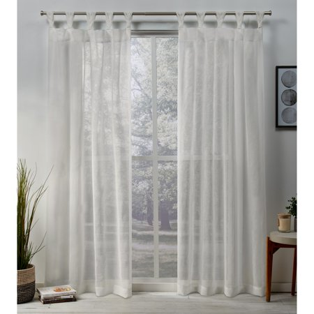Exclusive Home Curtains 2 Pack Belgian Sheer Braided Tab Top Curtain Panels ()