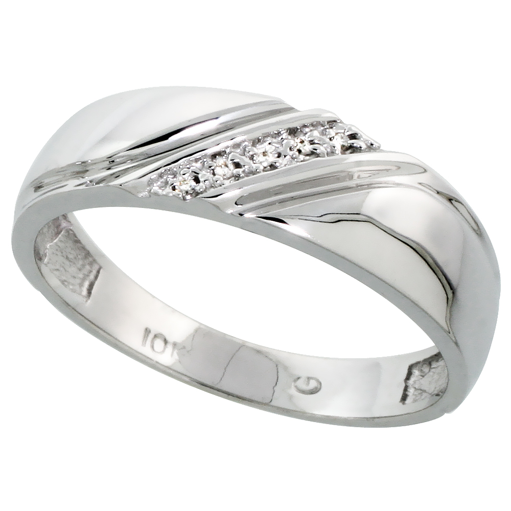 10k White Gold Mens Diamond Wedding Band Ring 0.03 cttw Brilliant Cut, 1 4 inch 6mm wide by WorldJewels
