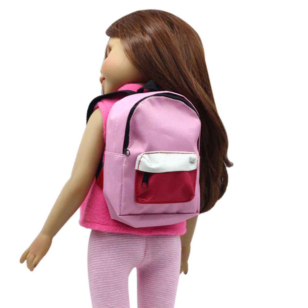 Iuhan Double Straps Backpack Schoolbag For 18 inch Our Generation American Girl Doll