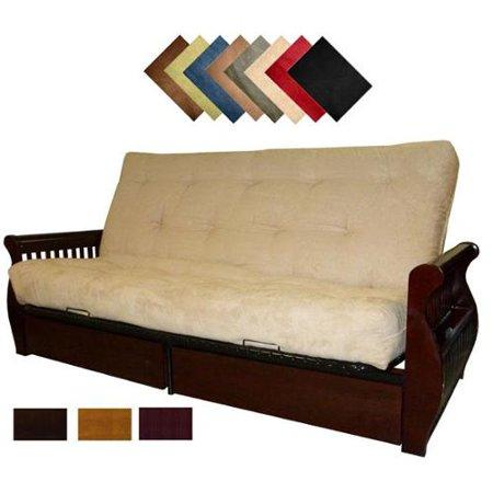 lexington microfiber suede inner spring queen size futon