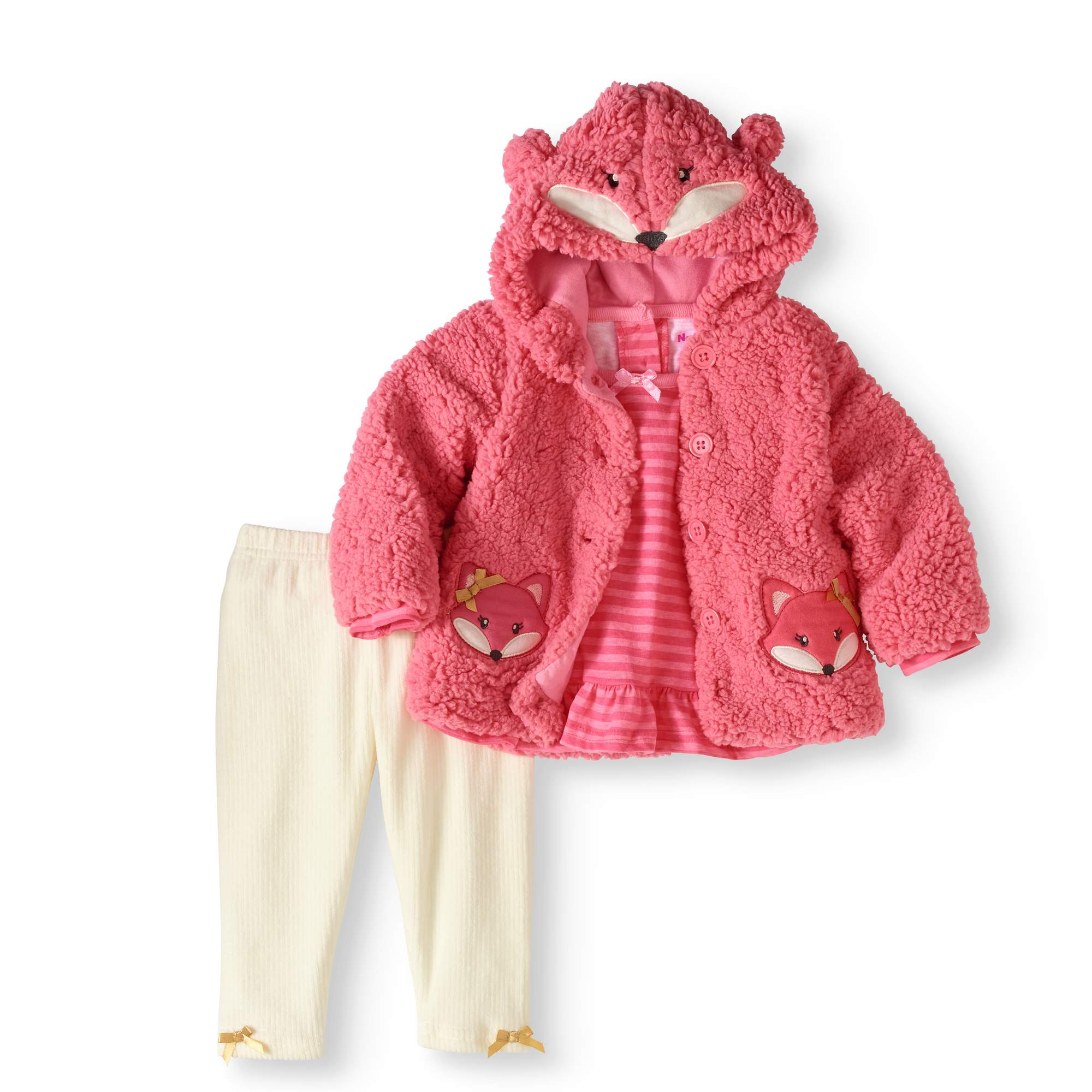 Newborn Baby Girl Critter Jacket, Top & Legging 3pc Outfit Set