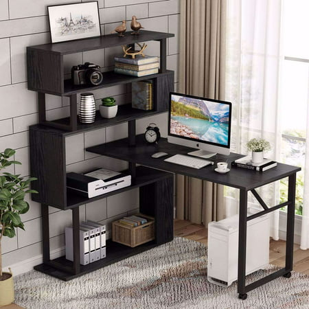 Tribesigns Rotating Computer Desk with 5 Shelves Bookshelf, Vintage Rustic L-Shaped Corner Desk with Storage, Reversible Office Desk Study Table Writing Desk on Wheels for Home Office Studio Writing Desk