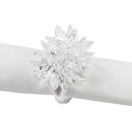 Fennco Styles Crystal Design Collection Napkin Ring - Set of 4 (White Crystal Flower) ()