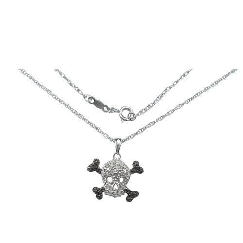"Black and White Diamond Accent Sterling Silver Skull Pendant, 20"""