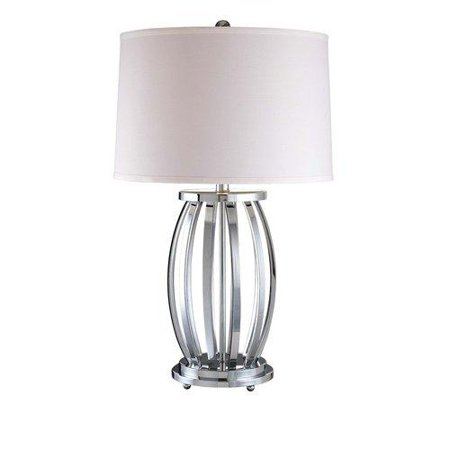 Spun Silver 1 Light 27.75In. Height Table Lamp With Cream Tapered Shade