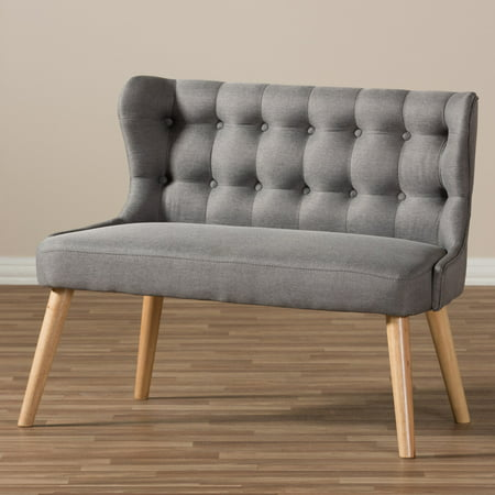 Baxton Studio Melody Mid-Century Modern Grey Fabric and Natural Wood Finishing 2-Seater Settee Bench ()