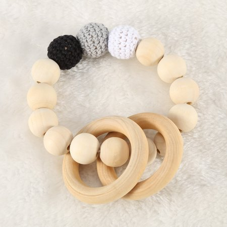 TMISHION Handmade Natural Wooden Baby Teether Bracelet Crochet Beads Teething Ring Infant Toy Gift, Wooden Teether, Baby Teething Beads