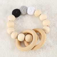 YMIKO Handmade Natural Wooden Baby Teether Bracelet Crochet Beads Teething Ring Infant Toy Gift,Baby Teether