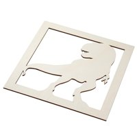 Genie Crafts 2-Piece Unfinished Wooden T-Rex Dinosaur Cutout, Jurassic Wall Art Decor for Painting, DIY Wood Crafts, and Signs, 11.6 x 0.2 Inches