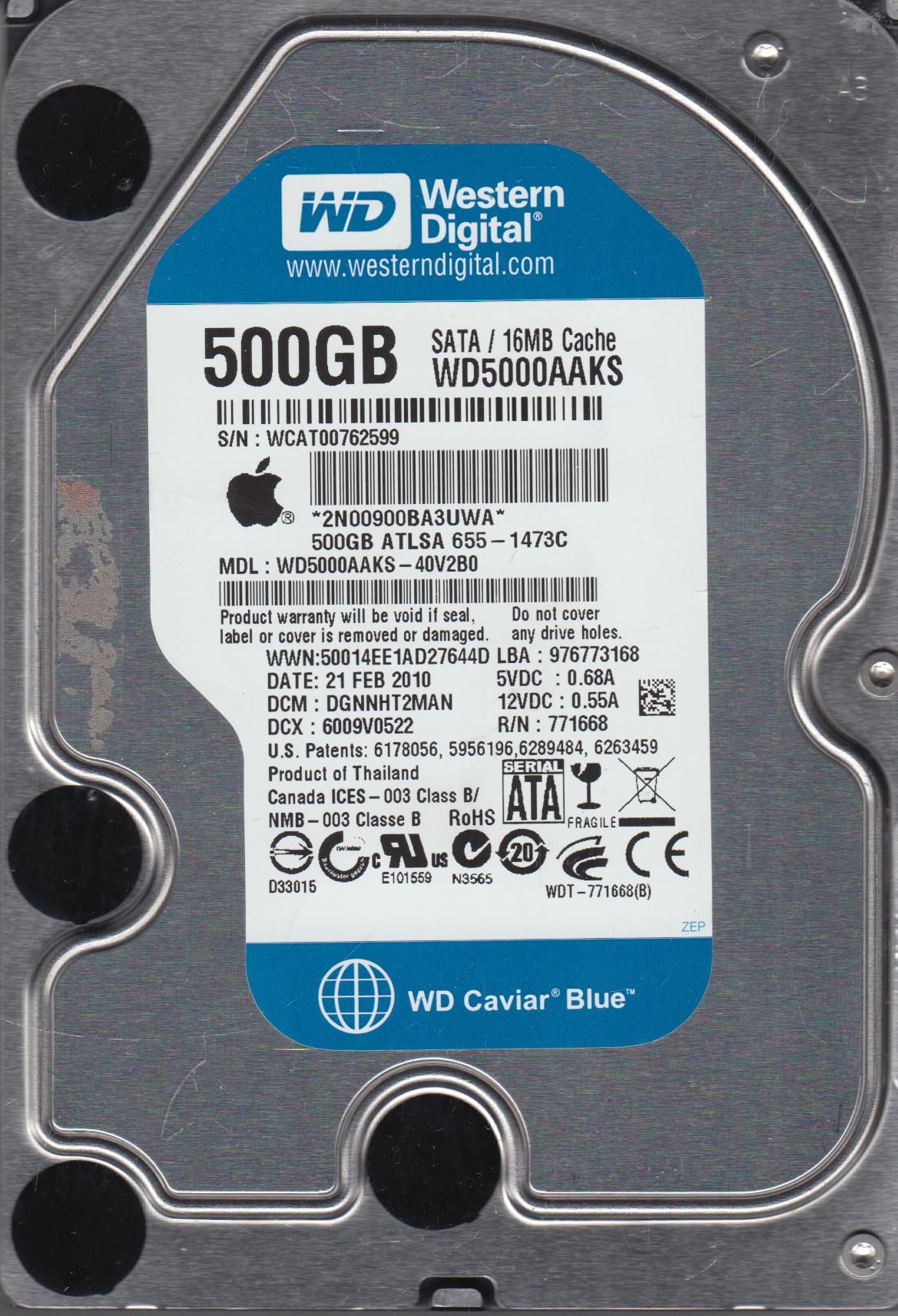 WD5000AAKS-40V2B0, DCM DGNNHT2MAN, Western Digital 500GB SATA 3.5 Hard Drive by WD