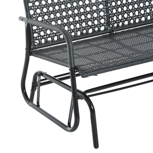 Wrought Studio Shupe Steel Rattan Outdoor Patio Double Glider Bench