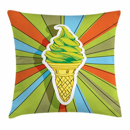 Art Throw Pillow Cushion Cover, Hand Drawn Ice Cream on Cone with Colorful Rays Coming out from the Middle, Decorative Square Accent Pillow Case, 18 X 18 Inches, Lime Green Multicolor, by Ambesonne