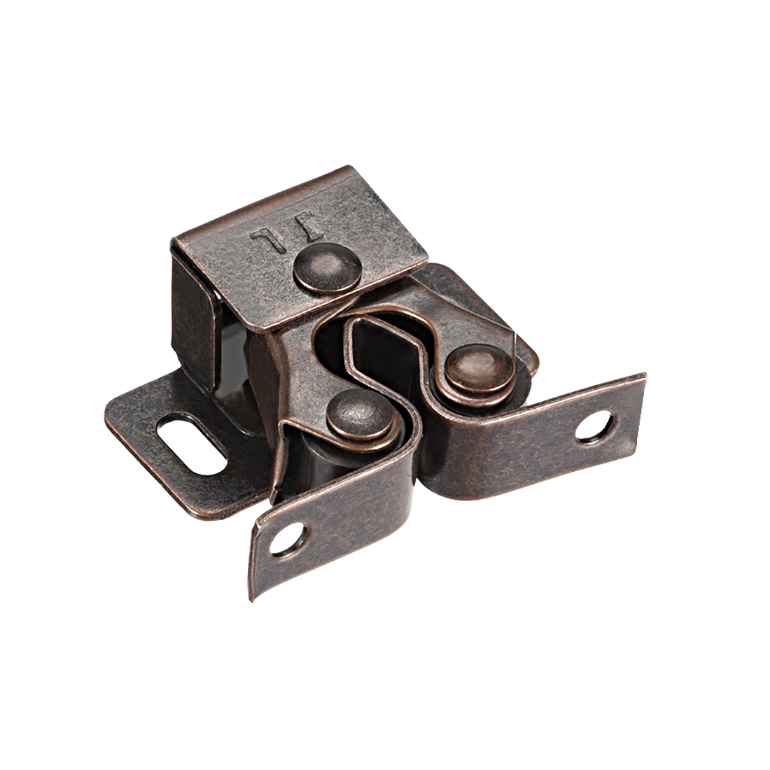 Cabinet Door Double Roller Catch Ball Latch with Prong Coppper Tone 10pcs