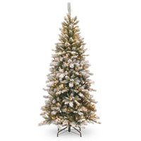 7.5' Snowy Mountain Pine Slim Pine Tree with Clear Lights