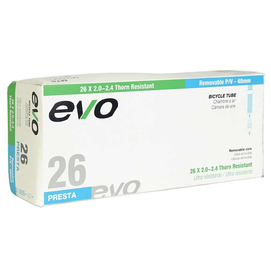 Evo, Thorn Resistant/Removable Presta Valve Core, Inner tube, Presta, 48mm, 26x2.00-2.40