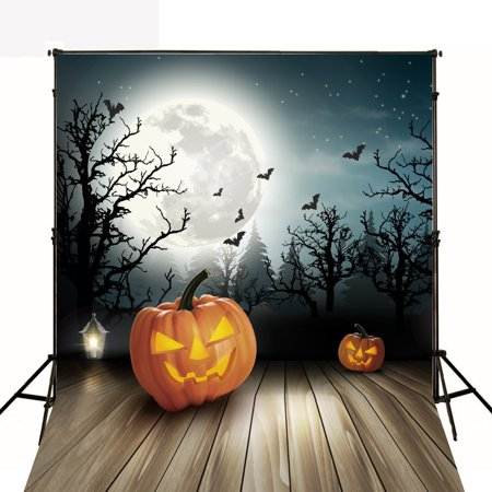 HelloDecor Polyster Photography Backdrop 5x7ft Halloween Photo Background Dark Wood Trees with Large Moon Backdrop for Photo Studio](Large Halloween Desktop Backgrounds)