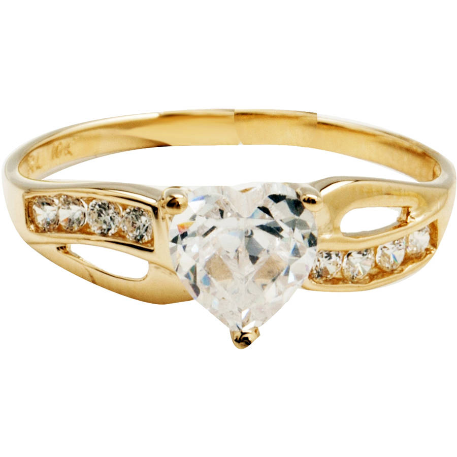 Believe by Brilliance 1.47 Carat T.G.W. Cubic Zirconia Heart-Shape 10kt Yellow Gold Engagement Ring by Richline Group Inc
