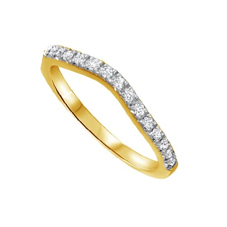 Round Cut White Natural Diamond Contour Ring for Women's in 10k Yellow Gold (1/3 Cttw)