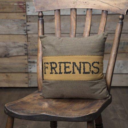 Raven Black Primitive Bedding Settlement Friends Cotton Appliqued Chambray Plaid Square 12x12 Pillow - Pillow Friends
