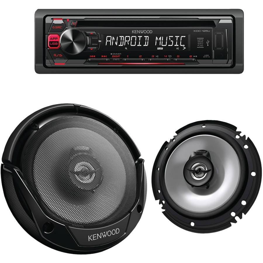 Kenwood PKG-125 Single-DIN In-Dash CD Receiver and Speaker Bundle
