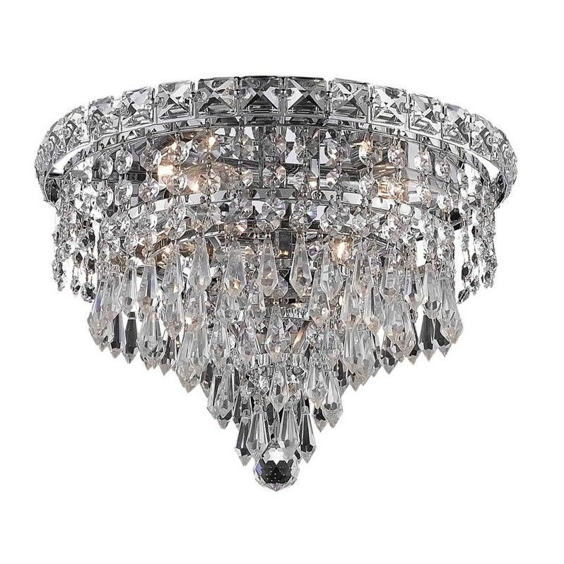 "Elegant Lighting Tranquil 12"" 4 Light Elements Crystal Flush Mount"