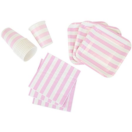 Just Artifacts Disposable Party Tableware 44 Pieces Striped Pattern Dining Set (Square Plates, Cups, Napkins) - Color: Baby Pink - Decorative Tableware for Parties, Baby Showers, and Life Celebrations for $<!---->