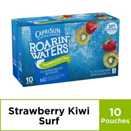 Capri Sun Roarin' Waters Strawberry Kiwi Surf Flavored Water, 10 ct - Pouches, 60.0 fl oz Box