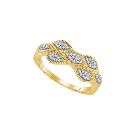 10K Yellow Gold 0.10ctw Shiny Pave Diamond Milgrain Marquise Fashion Band Ring