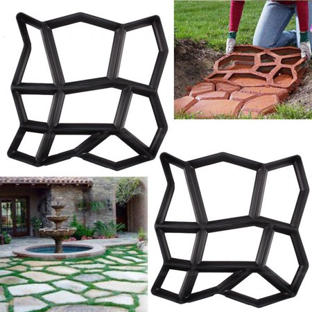 Faux Stepping Stones - YOSOO Stone Mold Walk Maker, Pathmate Stone Mold Paving Pavement Concrete Mould Stepping Stone Paver Walk Way DIY Personalized Manual Pathmate Stone Mould(random 9grid)