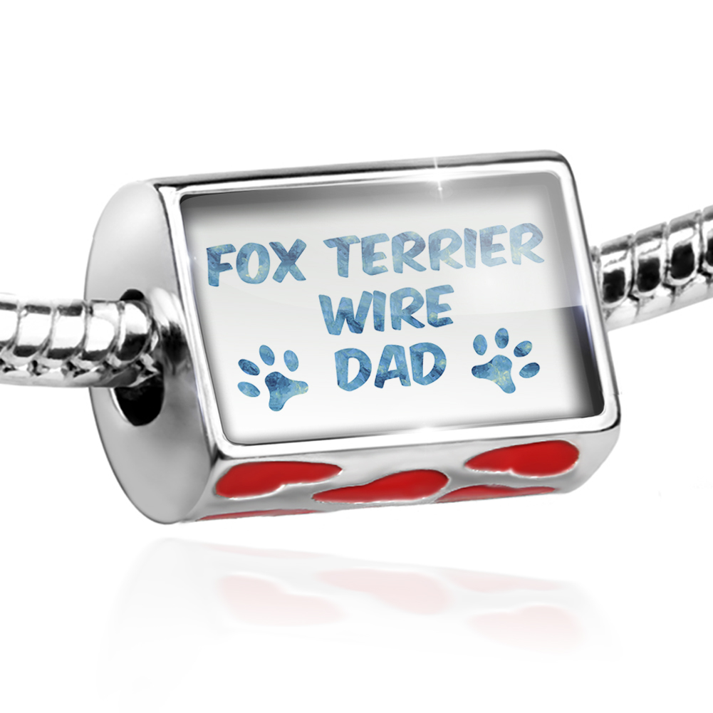 Bead Dog & Cat Dad Fox Terrier Wire Charm Fits All European Bracelets