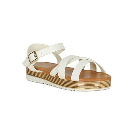 795e599323 Qupid - Women Open Toe Metallic Trim Ankle Strap Flatform Sandal 18698 -  Walmart.com