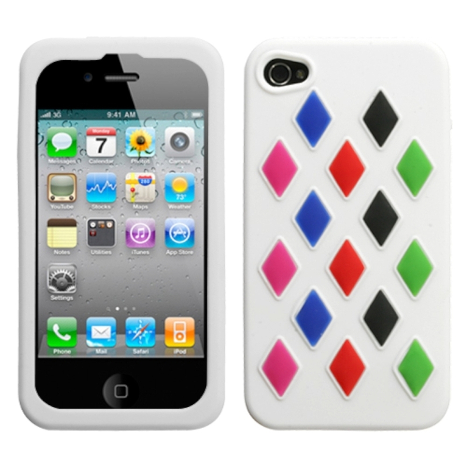 Insten White Module Skin Case (w/Package) For iPhone 4 4S