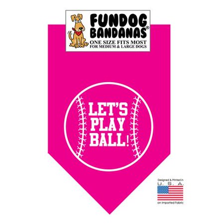 Fun Dog Bandana - Let's Play Ball - One Size Fits Most for Med to Lg Dogs, hot pink pet scarf