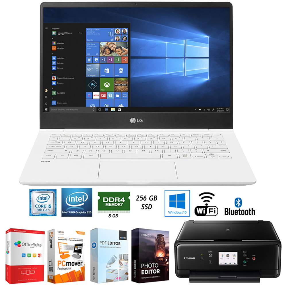 "LG gram 14.0"" Intel 8th Gen i5-8250U Ultra-Slim Laptop - 14Z980-U.AAW5U1 + Elite Suite 17 Standard Software Bundle with Canon Wireless All-in-One Compact Printer"