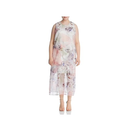 Vince Camuto Womens Plus Floral Print Tent Maxi Dress Ivory 1X