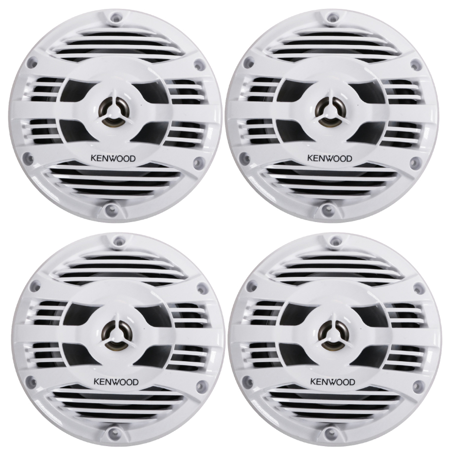 "Kenwood 2 Pairs of KFC-1653MRW 300W 6.5"" 6-1/2"" 2-Way Marine Speakers 6.5"" White"