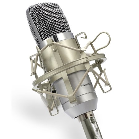 Professional Condenser Microphone, Fosmon XLR to 3.5mm Desktop or Laptop Studio Cardioid Voice Recording Mic with Shock Mount & Windscreen for Broadcasting, Pod Casting, YouTube, Live & On (Electro Voice Cardioid Dynamic Mic)