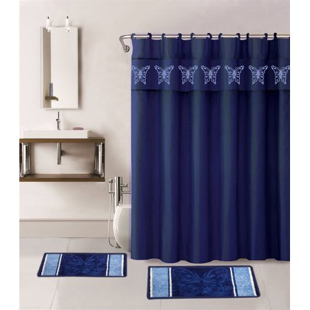 15-Piece ANGEL Bathroom Bundle Mat Set, 2 (Two) BUTTERFLY Embossed Thick Bath Rugs, 1 (One) Embroidery Shower Curtain and 12 Fabric Covered Rings Included (Navy Blue)