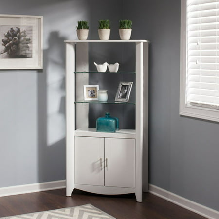 Bush Furniture Aero Tall Library Storage Cabinet with Doors in White