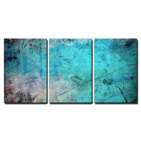 wall26 3 Piece Canvas Wall Art - Blue and Splatter Ink Watercolor Paint Background - Modern Home Decor Stretched and Framed Ready to Hang - 24
